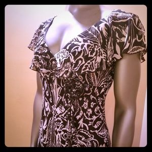 Black and White Dress w/ Flower accent